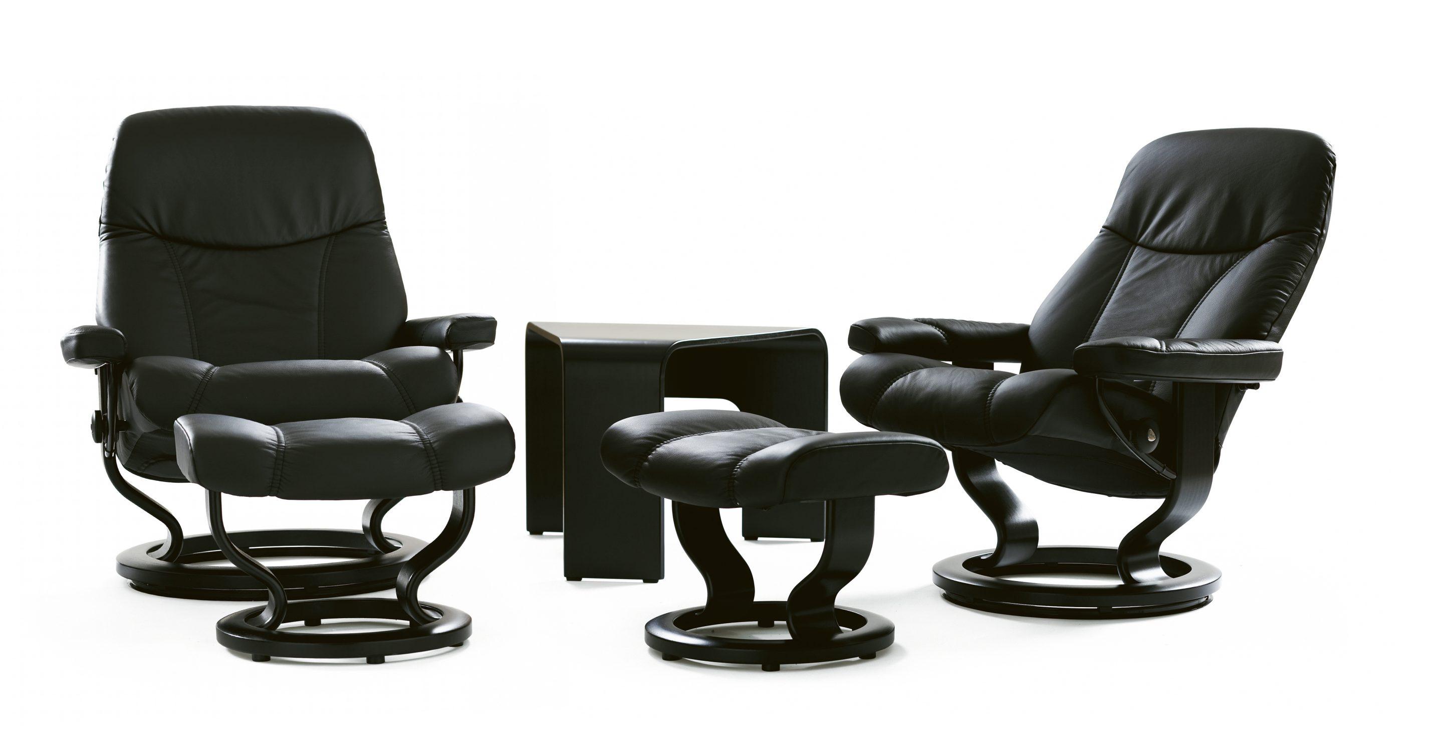 Stressless consul small chair and stool in batick leather - Consul Ambassador 2480824932 J