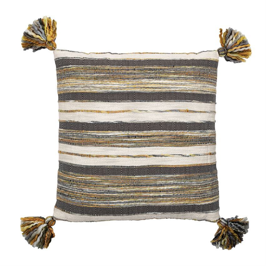 Striped Tassel Square Pillow